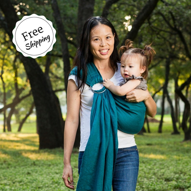 Bibetts Pure Linen Ring Sling Baby Carrier Teal Cpsia Compliant Infant Toddler And Baby Carrier