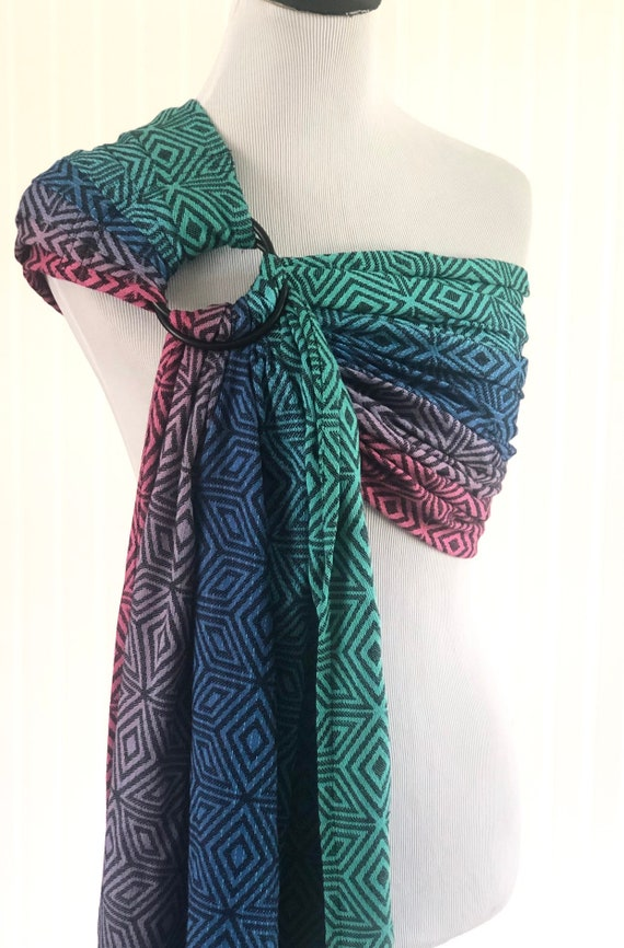 release date special section outlet store sale Bibetts 'Dark Aurora Cube' Wrap Conversion Ring Sling - Jacquard Weave -  CPSIA compliant - Infant, Toddler and Baby Carrier