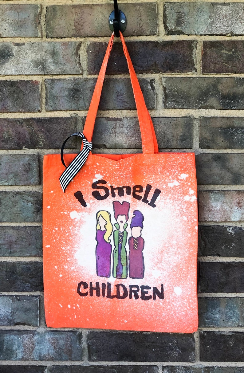 trick or treat Personalized Halloween bag Bleached distressed bag Goodie bag Halloween trick or treat bag Halloween Trick or treat bag