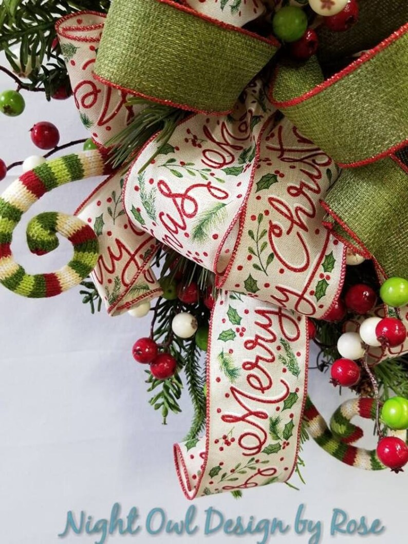 Festive Christmas Wreath Whimsical Christmas Wreath Front Door Decor Christmas Grapevine Wreath Christmas Wreath Holiday Wreath
