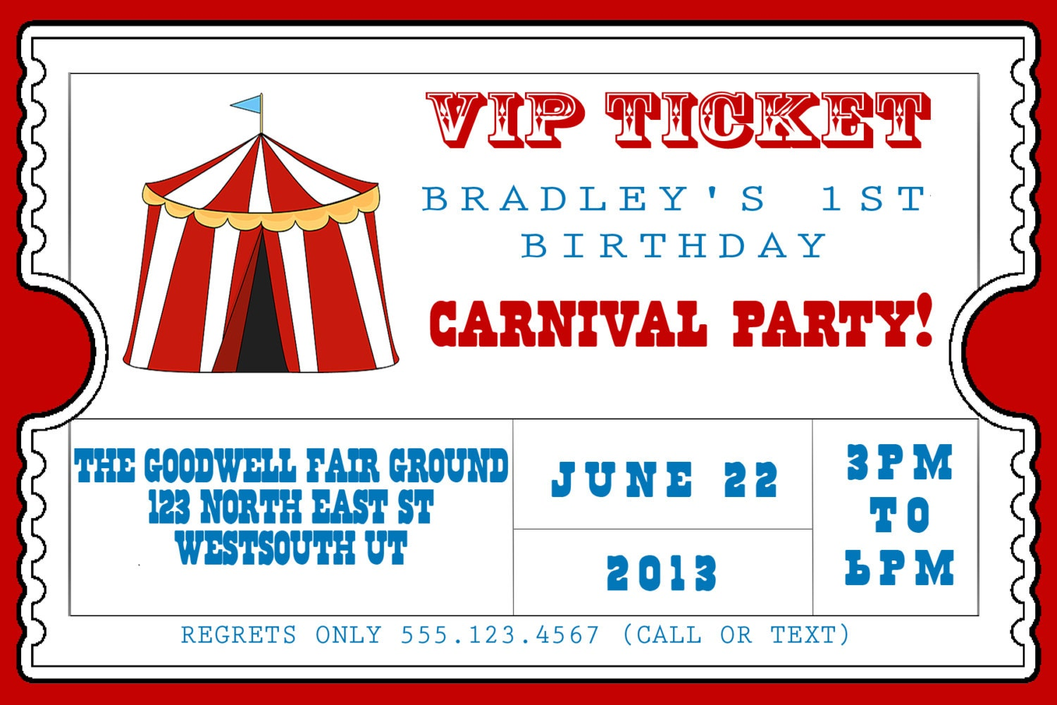 Carnival Themed Birthday Party Invitation Personalized and | Etsy