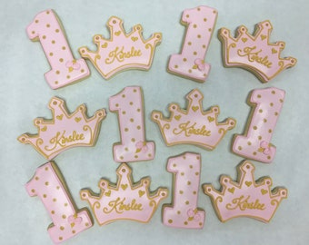 Best First Birthday Princess Party Favors Themed Cookies Crown Tiara