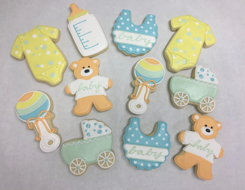 Gender Neutral Baby Shower Cookies Onesie Cookies Unisex Etsy