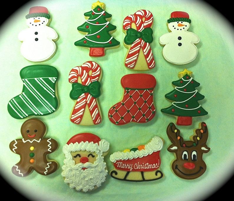 Christmas Cookies Holiday Cookies Christmas Party Favor Cookies Decorated Christmas Cookies Santa Cookies Reindeer Cookies