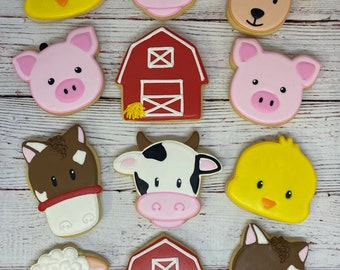 Farm Theme Cookie Favors - with Barn, Horse, Pig, Chick, Sheep, and Cow, Birthday Cookies, Baby Shower Cookies, Farm Animal Cookie Favors