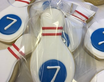 Bowling Theme Party Favors for Birthdays, Bowling Pin Cookies, Bowling Cookies for Birthdays, Bowling Cookie Favors, Bowling Event Cookies