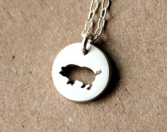 Handmade Tiny Sterling Silver Pig Necklace - Handcrafted Silver Pig Jewelry - Silver Necklace