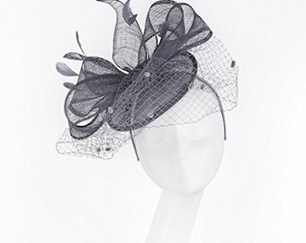 Janeo Theodora Fascinator, Classic Double Bows on a Circular Disc Base, all made of Sinamay Fabric, Net Veil & Feathers, softly Style - Grey