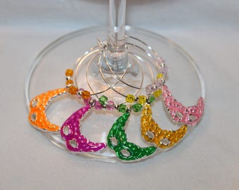 Mardi Gras Wine Charms Set of 5 Wine Glass Markers Mask Charms