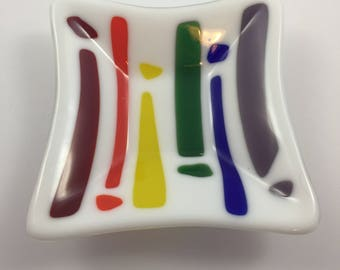 White Dish with Rainbow Colors