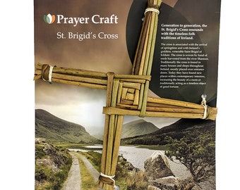 "Irish Handmade St. Brigid's Cross - 10"" x 10"" x 1"" Mounted on unique Irish scenic card - All Handcrafted, All Natural."