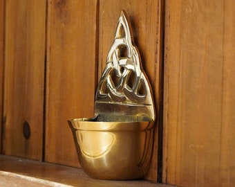 Brass Holy Water Font | Trinity Knot | Ireland | Housewarming Gift | Holy Water Font