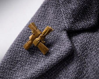 """Irish Handmade St. Brigid's Cross / Brooch - 1.5"""" x 1.5"""" with unique history card attached.  All Natural. First Holy Communion Gift."""