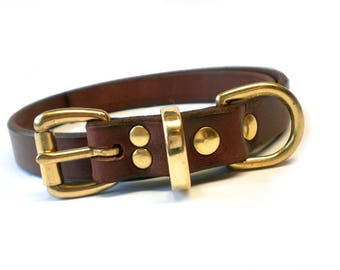 "3/4"" Rich Brown Chahin English Bridle Leather Plain Dog Collar with Solid Brass Hardware"