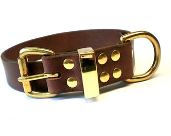 """1 1/4"""" Rich Brown Chahin Bridle Leather Dog Collar with Solid Brass Hardware and Brass Keeper"""