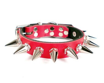 """3/4"""" Soft Fire Red, Thick Leather Spiked Dog Collar with 1"""" Tall Hexagonal Spikes"""