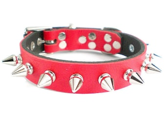 """3/4"""" Soft Fire Red, Thick Leather Spiked Dog Collar with small tree spikes"""