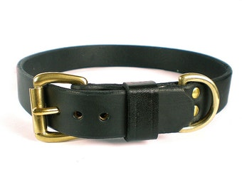 "1"" Black Chahin English Bridle Leather Dog Collar w/ Solid Brass Hardware and Buckle"