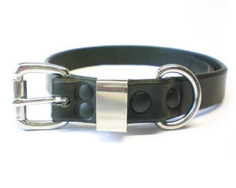 "3/4"" Nickel Free Black Chahin Bridle Leather Plain Dog Collar with Stainless Steel Hardware"