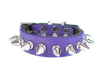 """3/4"""" Soft Electric Purple, Thick Leather Spiked Dog Collar with small tree spikes"""