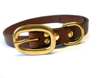 "3/4"" Rich Brown Chahin English Bridle Plain Leather Dog Collar with Solid Brass Hardware and Oval Buckle"