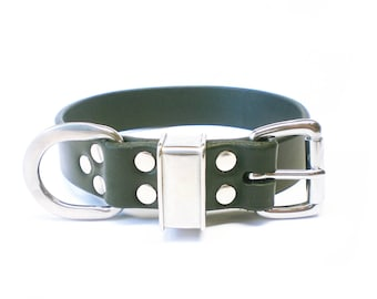 "1-1/4"" Nickel Free Black Chahin Latigo Leather Plain Dog Collar with Stainless Steel Hardware, hypoallergenic"
