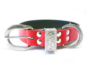"1"" Nickel Free Red Leather Plain Dog Collar with Stainless Steel Hardware and a scalloped engraved keeper"