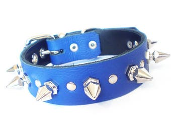 """1"""" Soft Blue Leather Spiked Dog Collar with Decorative Spot Rivets & Chunky Hexagonal Spikes"""