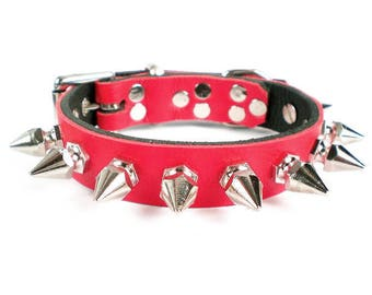 """3/4"""" Soft Fire Red, Thick Leather Spiked Dog Collar with Chunky Hexagonal Spikes"""