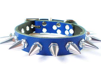 """3/4"""" Soft Royal Blue, Thick Leather Spiked Dog Collar with 1"""" Tall Hexagonal Spikes"""