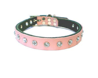 """5/8"""" Soft Baby Pink Leather Studded Dog Collar  w/ White Rhinestone Crystals/Gems/Rivets"""