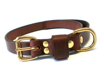 """3/4"""" Rich Brown Chahin English Bridle Leather Plain Dog Collar w/ Solid Brass Hardware and Leather Keeper"""