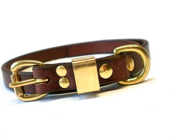 "5/8"" Rich Brown Chahin English Bridle Leather Plain Dog Collar with Solid Brass Hardware and Brass Keeper"