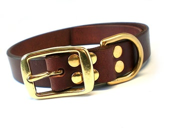 "1"" Rich Brown Chahin English Bridle Leather Dog Collar w/ Solid Brass Hardware and Square Buckle"