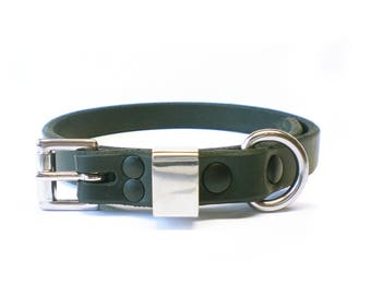 "5/8"" Nickel Free Black Chahin Bridle Leather Plain Dog Collar with Stainless Steel Hardware"