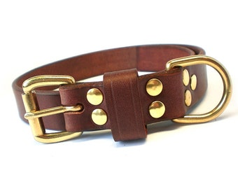 """1"""" Rich Brown Chahin English Bridle Leather Dog Collar w/ Solid Brass Hardware and Buckle"""