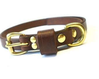"""5/8"""" Rich Brown Chahin English Bridle Leather Plain Dog Collar with Solid Brass Hardware and Leather Keeper"""