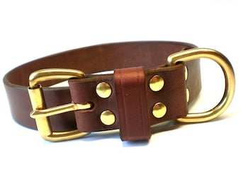 "1 1/4"" Rich Brown Chahin English Bridle Leather Dog Collar with Solid Brass Hardware and Leather Keeper"
