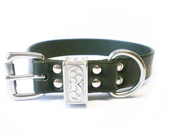 "1-1/4"" Nickel Free Black Chahin Latigo Leather Plain Dog Collar with Stainless Steel Hardware and a scalloped engraved keeper"
