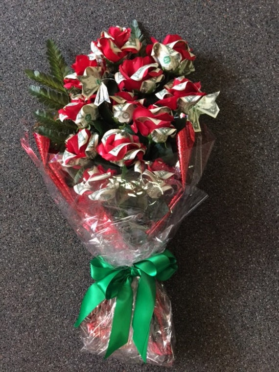 Handcrafted Dozen Money Origami Rose Bouquet Graduation