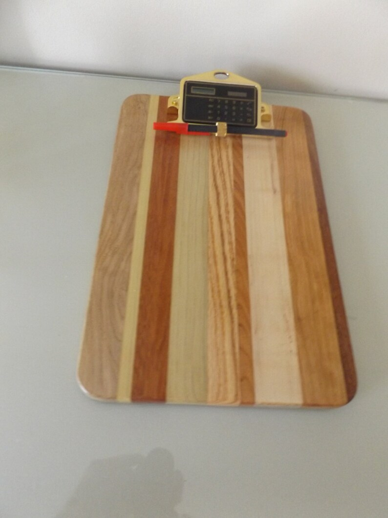 Hardwood Clipboard with Pencil Holder and Calculator
