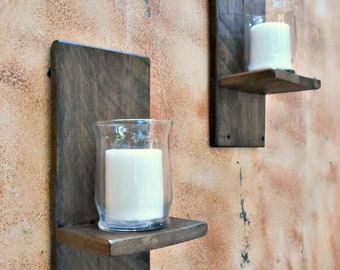 wood wall sconce rustic candle sconce reclaimed wooden candle holders oak candle sconce primitive style easy to hang recycled lumber - Rustic Candle Wall Sconces