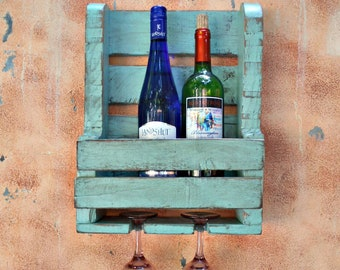 pallet wine glass rack. Beautiful Pallet Turquoise Green Wood Wine Rack With 2 Glass Holder Rustic Wall Container  Distressed Finish Reclaimed Wood Pallet RackRecycled Intended