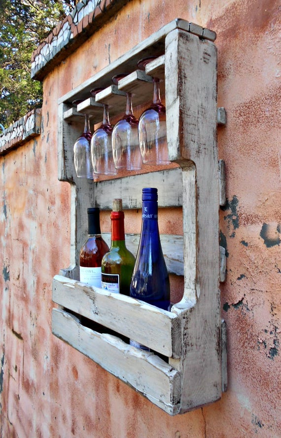 Rustic Wood Wine Rack Reclaimed Wood Distressed White Washed Etsy