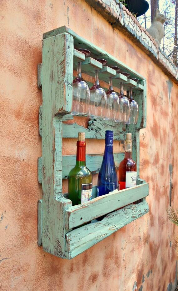 Rustic Wood Wine Rack Very Distressed Turquoise Pallet Wine Etsy