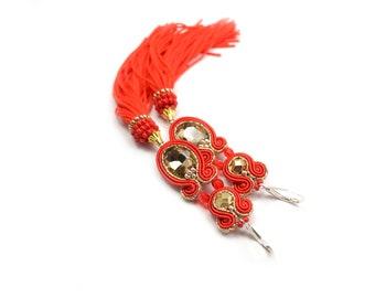 60745a9fa605f Emerald Swarovski Soutache Tassel Earrings 925 Sterling | Etsy