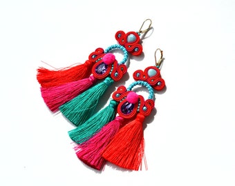 Colourful dangle earrings with tassel and pom pom - Statement earrings