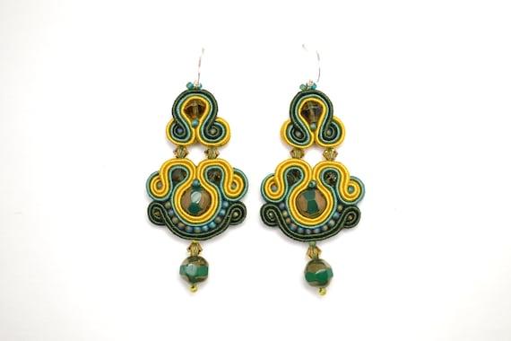 81fbe112d8774 Mustard Green Soutache earrings - 925 Sterling Silver hooks - Statement  Earrings -Beaded Soutache Earrings - Hand Embroidered Earrings