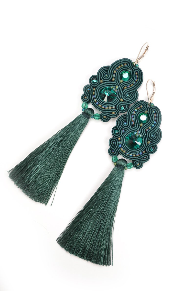 ee64bbc8b2319 Emerald Swarovski Soutache Tassel Earrings - 925 Sterling Silver Lever  backs - Statement Earrings - Gift for her - Silk Tassel Earrings
