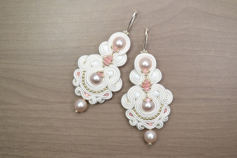 564e4a72cc05d Bridal white Soutache Earrings - 925 Sterling lever backs - Statement  Earrings - Bridal jewelry - Wedding accessories -White and brush pink